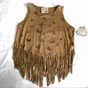 French Pastry Butterfly Fringed Tank Top
